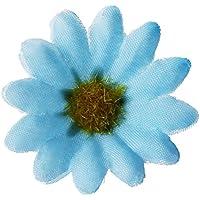 SODIAL(R) 100 x Flores Margarita Artificiales Decoracion Adorno para Oficina Casa Azul