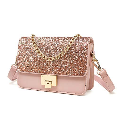 SOOHAO Kleine Tasche Umhängetasche Damen Mode Handtasche für Mädchen Damentaschen Leder Schultertasche Glitzer Clutch mit Abnehmbarem Riemen und Henkel für Party - Kind Handtasche