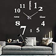 Elikeable Modern 3D Frameless Large 3D DIY Wall Clock Watches Hours DIY Decorations Home for Living Room Bedro