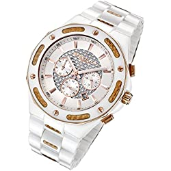 Cirros Milan Marveloso White Ceramic and Gold Carbon Fiber Men's Chronograph Watch