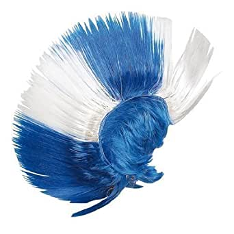 GIZZY® Adults Mohican Punk Novelty Wig in Blue and White.
