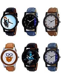 NIKOLA New 3D Design Mahadev Beard Style Black Blue And Brown Color 6 Watch Combo (B22-B37-B39-B55-B23-B40) For...