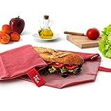 Roll'eat Boc'n'Roll, Eco, Porta bocadillos reutilizable , bolsa merienda , funda bocadillo, Sin BPA, Rojo