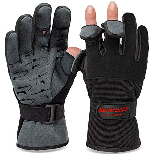 Angelhandschuhe Fishing Gloves Neopren Handschuhe Angeln Schwarz/Grau XXL