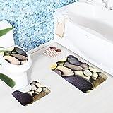 Xshuai® 3pcs/Ensemble de salle de bain imperméable antidérapant 3d Pierre lavable souple Warmer Pedestal Tapis + Couvercle pour abattant + Tapis de bain