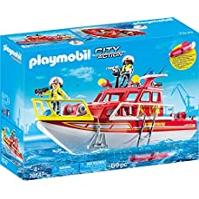 Playmobil 70147 City Action Floating Fire Rescue Boat with Underwater Motor