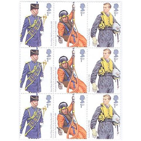 RAF UNIFORMS Francobolli–9x 1st Class Royal Mail Francobolli. 2008RAF UNIFORMS Francobolli con i vari divise e il kit di volo utilizzato dalla RAF attraverso i secoli