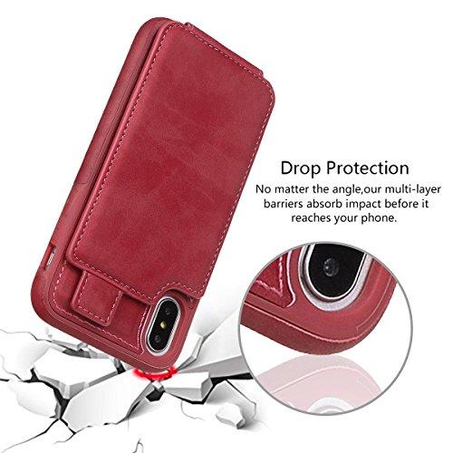 xhorizon Etui portefeuille en cuir de la meilleure qualité de support Vertical haut et bas de fentes de la carte de crédit avec fermeture magnétique pour iPhone X / iPhone 10 Rose