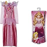 Disney Princess Sleeping Beauty Sparkle Dress 4-6X And Disney Princess Royal Shimmer Aurora Doll Toy Bundle