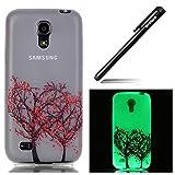 Hülle für Samsung Galaxy S4 Mini Durchsichtig Hülle,Nacht Leuchtende Schutzhülle Galaxy S4 Mini,BtDuck Case Hülle TPU Silikon Bumper Hülle HandyHülle Etui Leucht Transparent Case