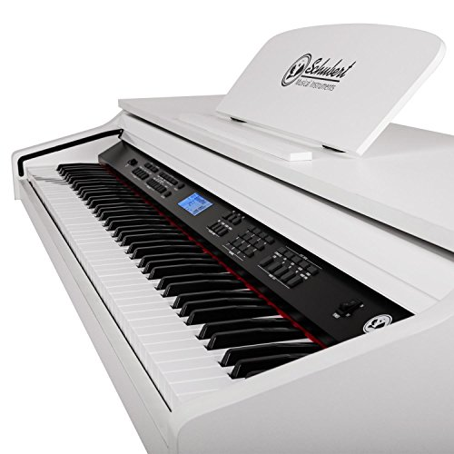 Schubert Subi88P2 • E-Piano • Keyboard • 88-Tasten • MIDI-Unterstützung • Anschlagdynamik • 138 vorinstallierte Instrumente • 118 Rhythmen • 31 Demo-Songs • 2 Pedale • LCD-Display • 3 Speicherplätze • zuschaltbares Metronom • Notenständer • weiß - 3