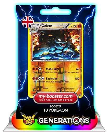 GOLEM (Geowaz) reverse holo 45/83 150HP XY Generations- Booster mit 10 Englisch Karten Pokemon my-booster