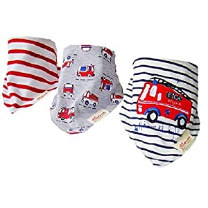 Bebedou Bus 3 PACK BOYS Dribble bibs Super Absorbent Pure Cotton Stylish Bandana Bib for Babies and Toddler STRIPY TRUCK •burpy towel •Lovely designs • very good quality •nice and funky • (3 Pack Gift Set) •unique baby gift • protects against drool rash • and reflux cute and stylish •. high quality & Super absorbent drool bibs •Made with a 100% soft cotton front and an ultra-absorbent 100% Polyester fleece back.