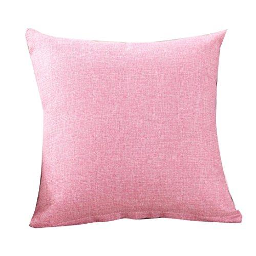 Voberry Einfache solide Farbe Mode werfen Kissen Cases Cafe Sofa Kissen Abdeckung Home Decor (Pink, 50*50cm)
