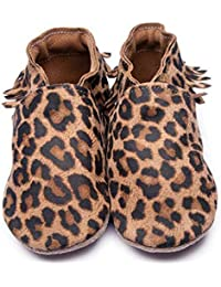 8fe8b86dc95a Inch Blue Girls Boys Luxury Leather Soft Sole Pram Shoes - Moccasin Leopard