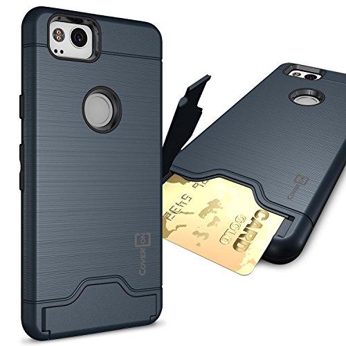 Google Pixel 2Schutzhülle mit Kartenfächern, coveron securecard Series Schutzhülle Handy Cover mit Kreditkarte Holder Slot, Marineblau (Card Phone Wireless Cricket)