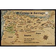 Camino De Santiago De Compostela Póster con Marco (Plástico) - El Camino De Santiago Anno 1445, Jon Mellenthin (91 x 61cm)