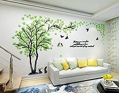 Idea Regalo - Alicemall 3D Adesivi Murali Wall Sticker Forma Albero Adesivi da Parete in Acrilico Foresta con Multicolore Foglie (Foresta Verde)