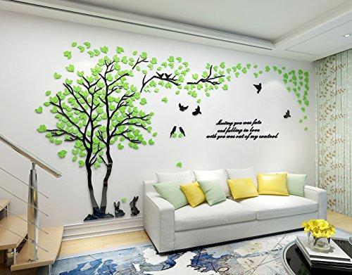 Alicemall 3D Adesivi Murali Wall Sticker Forma Albero Adesivi da Parete in Acrilico Foresta con Multicolore Foglie (Foresta Verde)