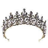 Corona de Boda Beisoug Lujo Elegante Corona Llena Diamante Negro Circón Flor Sombrero Diadema Señoras