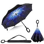 BP @ Regenschirm faltbar mit innenliegende Riverso umgekehrt sehr nützlich bei Regen Fenster Tattoos, Hände in Form von C Reverse Parasol freistehend der Griff Doppel Schicht winddicht Auto im Freien (106cm), stars