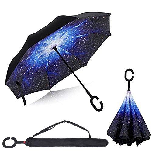 Baby Pig Parapluie, avec mécanisme d'ouverture inversé, double épaisseur, résistant au vent et poignée en forme de ...