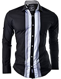 Mens Shirt Stripes Casual Party Clubbing Slim Fit Bodybuilder 100% Cotton Black