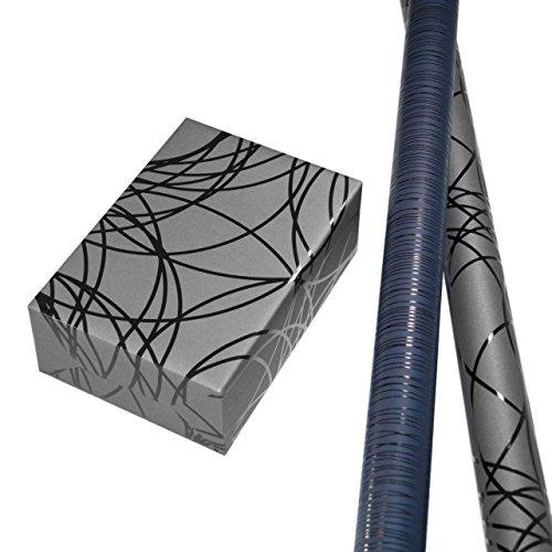Geschenkpapier edel Set 2 Rollen (75 x 150 cm), Lack-Linien-Geschenkpapiere Hintergrund schwarz und blau. Für Geburtstag, Männer. Motiv Lines und Pablo, modern und hochwertig.
