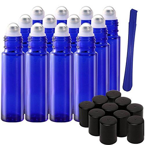 12, 10ml Blue Glass Roller auf Flaschen mit Edelstahl Roller Ball–Nachfüllbar ätherisches Öl Flaschen mit Deckel Opener Pry Tool & 1Transfer Pipette, ideal für Aromatherapie, Parfüm und