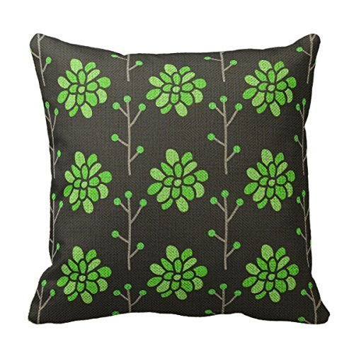 ZKHTO Pastoral Style Decorative Throw Pillow Cover Cushion Case Dark Gray and Neon Lime Green Retro Flower,Cover Size:16 x 16 Inch(40cm x (Dark Fairy Halloween Ideen)
