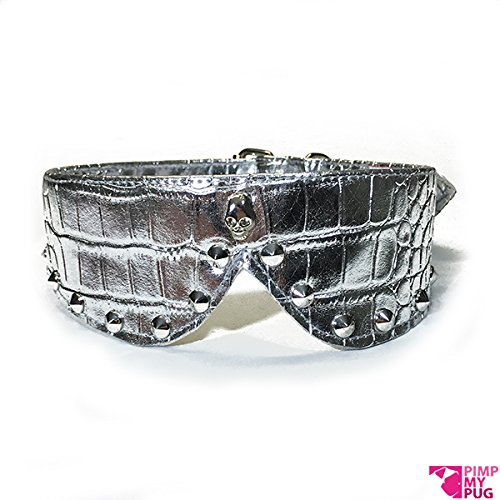 Collare colletto in ecopelle argento e borchie in metallo, ideale per collo 37/42 cm (Argento)
