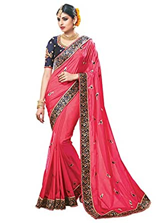 Designer Bollywood Style Indian Sari Embroidered Pink color Silk Party Wear traditional Saree