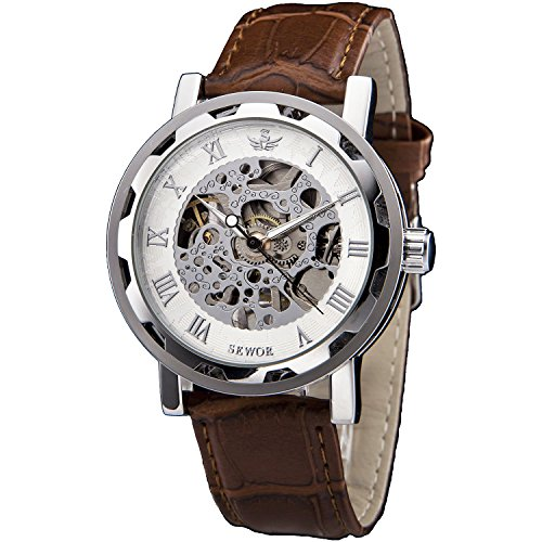 SEWOR Mens Hollow Skeleton Carving Mechanical Hand Wind Wrist Watch (Silver White)