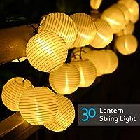 Lvyleaf Guirnaldas de Luces Solar, 30 LED Linternas de exterior Chinas Guirnalda Luminosa para Exterior Cadena de luces en Farol Decorativas para Jardín Patio Bodas Terraza Árbol de Navidad (Blanco Cálido)