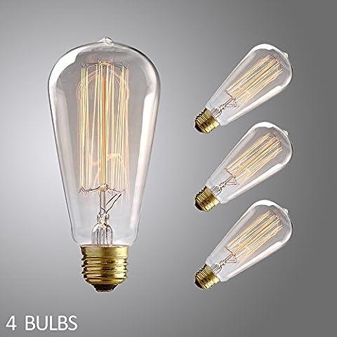 jdong lampadina a incandescenza lampadine in nostalgia Industrial Edison Design 60W E27, ADS E27A-60W [Confezione da 4]