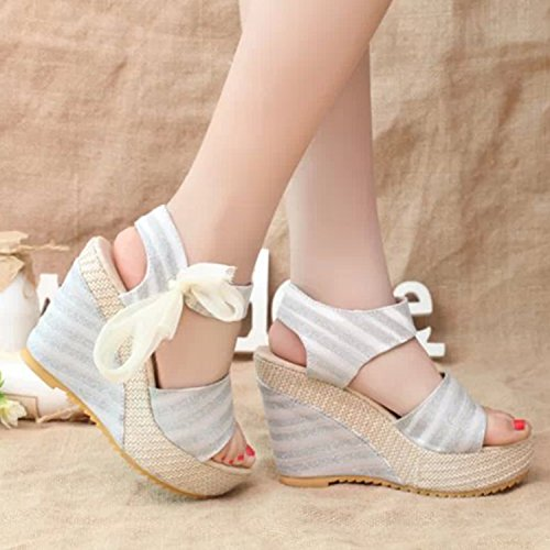 Azbro Women's Stripe Peep Toe Wedge Heels Bow Sandals Beige