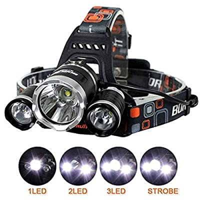 CDC® Ultra Bright 6000 Lumens 3xCREE XM-L T6 LED Focus Waterproof Headlight Rechargeable Headlamp for Hiking Camping Climbing Cycling Fishing Security Light