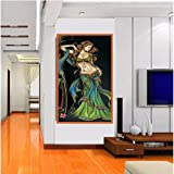 TOTAL HOME: JALEBI BAI LADY SIZE (2FT * 4FT ) / Wall Art Picture Painting Home Decor Wall Pictures For Living Room No Framed /Large Handpainted Lovers Rain Stree Tree Lamp Landscape Painting On Canvas Wall Art Picture For Home Decoration Wall Decor/ Wall