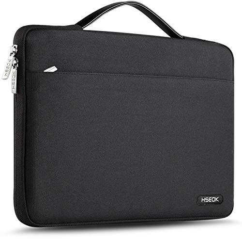 HSEOK 15,6 Zoll Aktentasche Laptop Handtasche Hülle Tasche, Stoßfeste Wasserdicht PC Sleeve kompatibel mit 15,4 Zoll MacBook Pro und die meisten 15-15,6 Zoll Notebook UltraBook Tablet, Schwarz