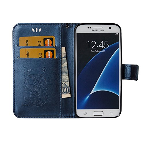 Für Samsung Galaxy S7 Premium Leder Schutzhülle, weiche PU / TPU geprägte Textur Horizontale Flip Stand Case Cover mit Lanyard & Card Cash Holder ( Color : Red ) Blue