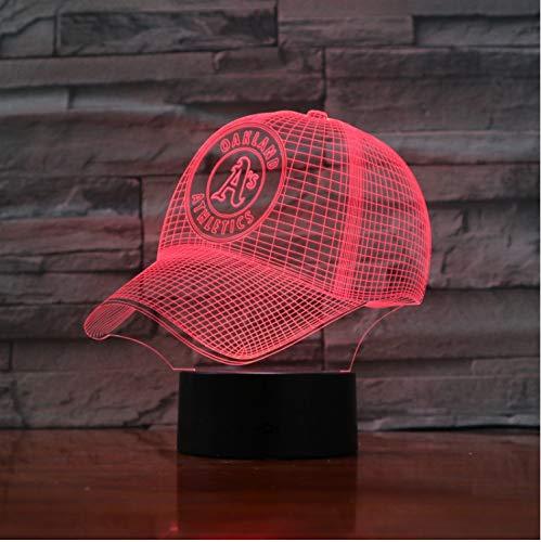 Oakland Leichtathletik Baseball Cup 3D Led Lampe Nacht Touch Sensor Rbg 7 Farbwechsel Kinder Kinder Geschenk Usb Nachtlicht Dekor