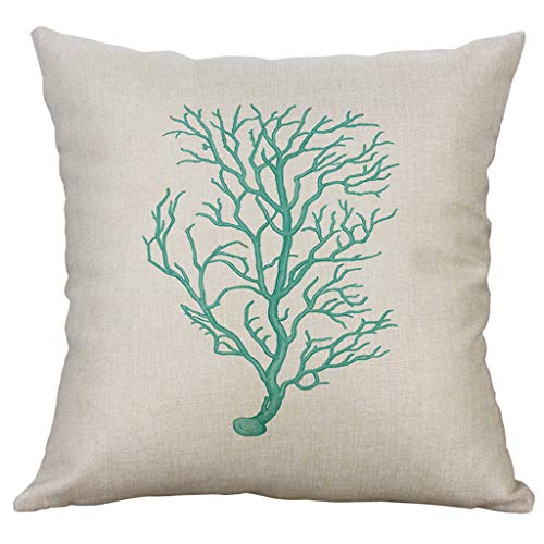 Xmiral Kissenhüllen Pillowcase Baumwollmischung Einfach Meeresflora und Fauna Gedruckte Kopfkissenbezug Kissenbezug Werfen(H,45x45cm)