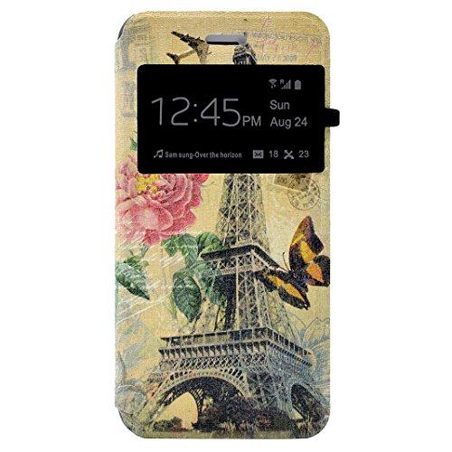 iPhone 7 Flip Cover, iPhone 7 Handyhülle mit Lanyard, iPhone 7 Bumper Flip Case, Moon mood® Mit Diamanten Ledertasche Brieftasche für iPhone 7 (4.7 Zoll) ,PU Leder Hülle Wallet Case Folio Schutzhülle  W-Eiffelturm