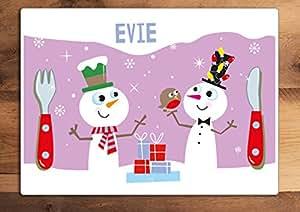 Children's Motif bonhomme de neige de Noël Set de table-changer le nom! Rose