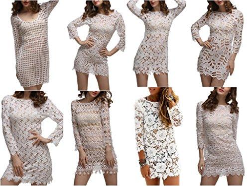 Smile YKK Robe de Plage Sexy Femme Dentelle Cover Up Bikini Maillot de Bain Top Transparent Chic Blanc #F