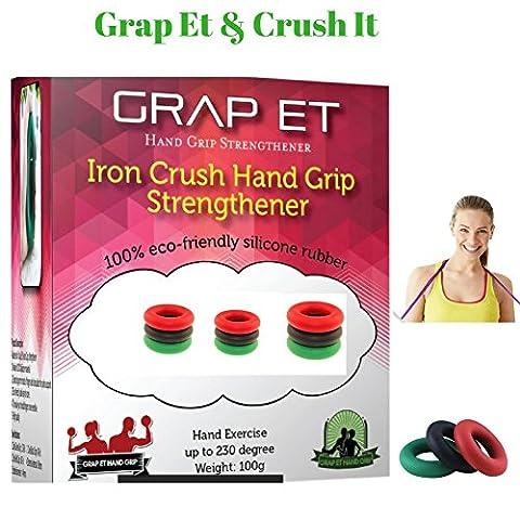 GRAP ET Power Silikon Hand Grip strengthener-high Tech Unterarm Handgelenk workout- Finger Stärke Trainings-Sportler, Musiker, Arthritis Physiotherapie Trainer Inlay Set von 3, Level erhöhter Widerstand