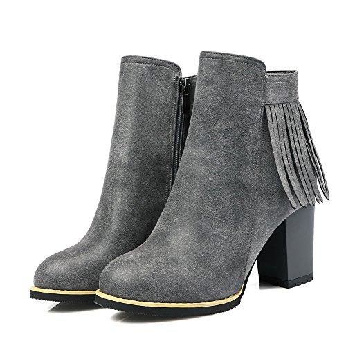 AllhqFashion Damen Reißverschluss Niedriger Absatz PU Leder Metall Nägel Stiefel, Schwarz, 35