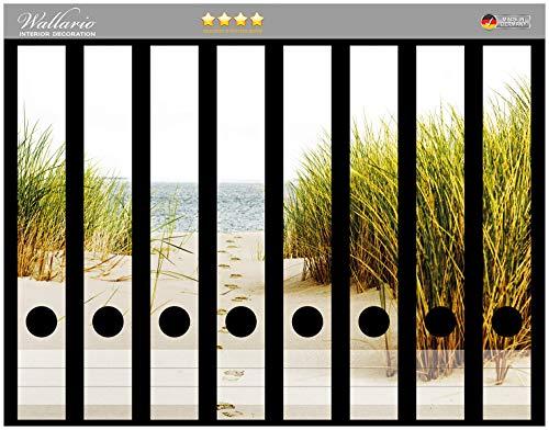 Wallario Ordnerrücken Sticker Spuren im Sand- Fußspuren durch die Düne zum Meer in Premiumqualität - Größe 8 x 3,5 x 30 cm, passend für 8 schmale Ordnerrücken