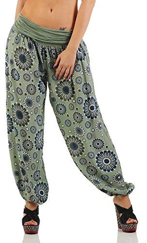 ZARMEXX Damen Pumphose Pluderhose Harem-Stil Sommerhose Baggy Yoga Pants all over Print Freizeithose Aladinhose Hose One Size Armee