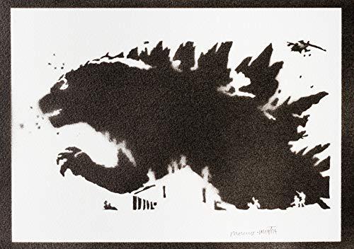 Kostüm Kind Godzilla - Godzilla Poster Plakat Handmade Graffiti Street Art - Artwork